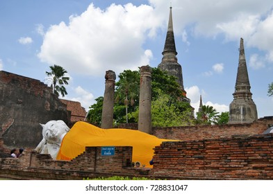 Reclining Buddha of Wat Yai Chai Mongkhon in Ayutthaya, Thailand - April 14th, 2017