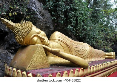 Reclining buddha within the Wat Phou Si in Luang Prabang,Laos
