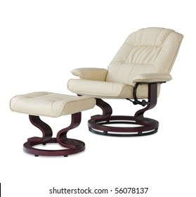 Reclining leather massage chair with foot rest, in beige leather.