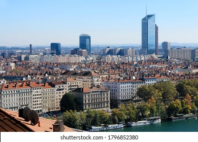 The recognizable towers of central Lyon in the La Part Dieu district.