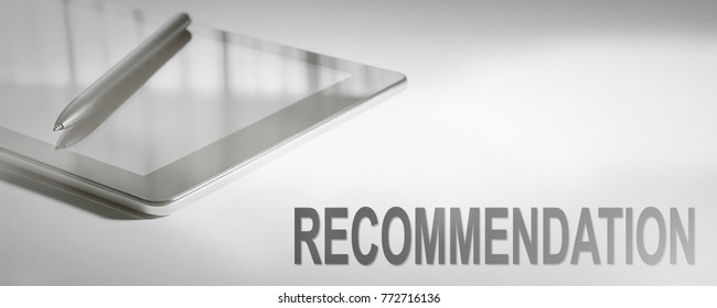 RECOMMENDATION Business Concept Digital Technology. Graphic Concept.