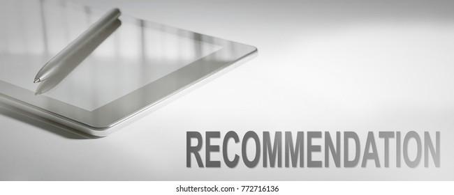 RECOMMENDATION Business Concept Digital Technology. Graphic Concept.