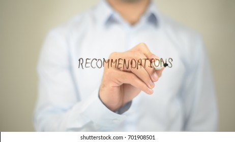 Recommendations, Man Writing on Transparent Screen