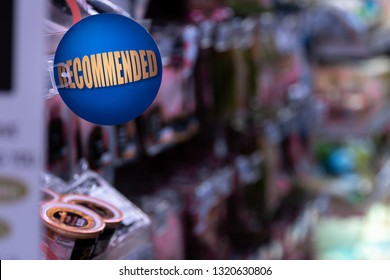 Recommended sign at the supermarket, Recommended zone, Recommendations, Supermarket