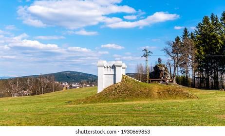 Reconstructed building of historical water reservoir in Dobra voda, Jablonec nad Nisou, Czech Republic - Shutterstock ID 1930669853