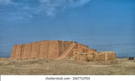 Reconstructed facade of the ziggurat of Ur at Iraq