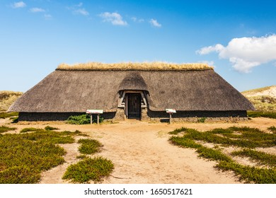 Reconstructed Iron Age House in the dunes. Amrum  North Frisia, Schleswig-Holstein, Germany