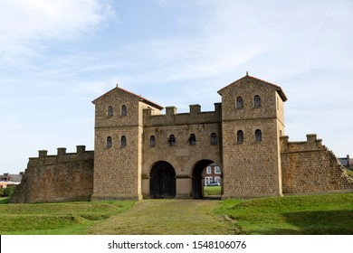 The reconstructed main gate of the Roman Fort (Arbeia) in South Shields, England. The site is part of the Frontiers of the Roman Empire UNESCO World Heritage Site.