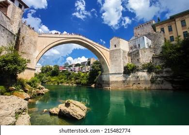 reconstructed Old Bridge of Mostar in Bosnia Herzegovina