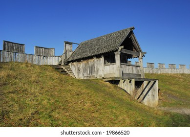 The reconstructed Viking fortification in Trelleborg Sweden.