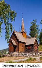 Reconstructed wooden Garmo Stave Church (Garmo Stavkyrkje) in Maihaugen Folks museum, Lillehammer, Oppland, Norway, one of the most visited stave churches in Norway