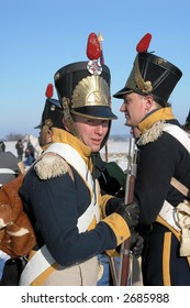 """Reconstruction of the 8 February 1807 Napoleon Battle of Preusisch-Eylau (East Prussia),  (Russia, Kaliningrad, village """"Bagrationovsk"""" now). February, 11th, 2007"""