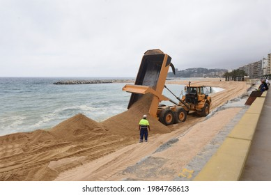 reconstruction of the beach of Sant Antoni de Calonge, Costa Brava, Girona province, Spain