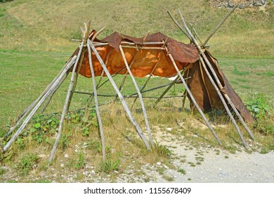 Reconstruction of the frame of an ice age european shelter. The covering is of cured animal skins. One of the oldest buildings