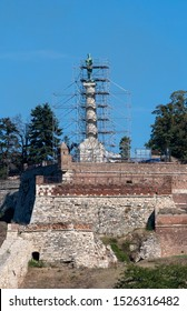 Reconstruction of the monument Victor (Pobednik) at Kalemegdan fortress in Belgrade, Serbia