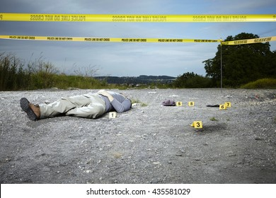 Reconstruction on crime scene - technician in role of victim
