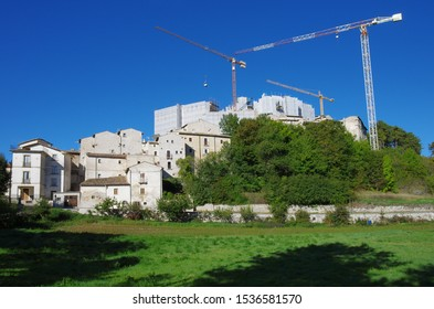 Reconstruction of the post-earthquake in Santo Stefano di Sessanio, L'Aquila, Abruzzo, Italy. You see the cranes that work.