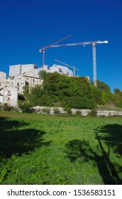Reconstruction of the post-earthquake in Santo Stefano di Sessanio, L'Aquila, Abruzzo, Italy. You see the cranes that work