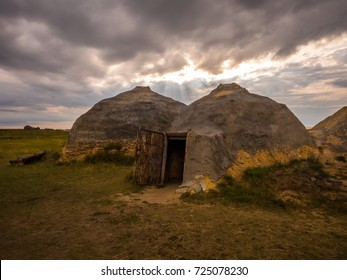 Reconstruction of the Stone / Bronze Age home. archaeological monument.