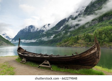 Reconstruction of a Viking ship near Sognefjord in Norway
