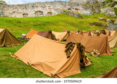 Reconstruction of a World War II military camp during a reenactment event.  British military tents from World War II.