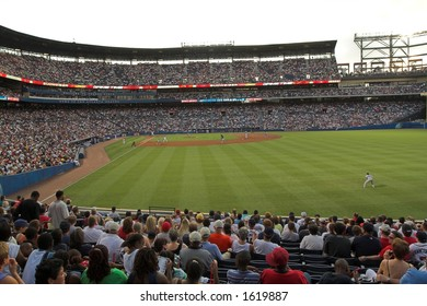 A record crowd of over 53,000 people fill Turner Field, in Atlanta, Georgia