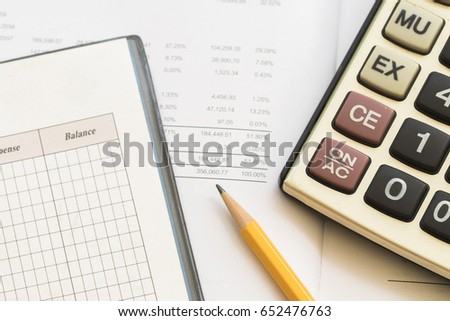 record expense income financial statement yearly stock photo edit
