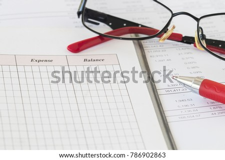 record expenses income financial statement yearly stock photo edit