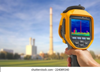 Record heat emission at the Chimney of energy station with infrared thermal cameras