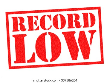 RECORD LOW red Rubber Stamp over a white background.