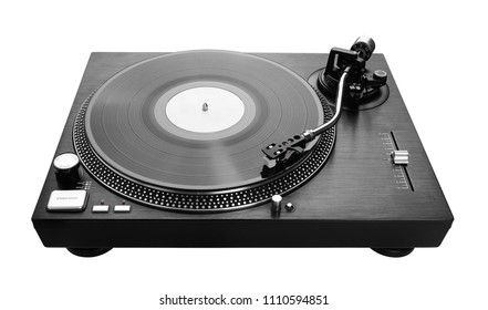 Record player playing vinyl, isolated on white