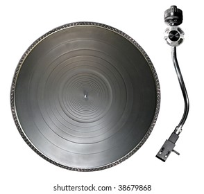 Record player or turntable parts isolated over white background