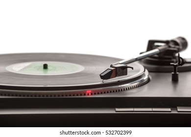 record player with vinyl record and white copy space