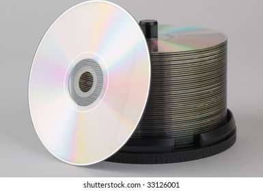 Recordable DVD's on a spindle.