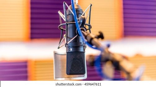 Recording Microphone in a studio with intentional shallow depth of field.