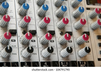 Recording Studio, live sound, Close up of audio mixer. Performance. Music Production.