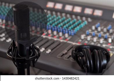 Recording Studio Mixing Console,  Microphone and Headphones