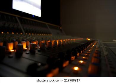 Recording Studio Mixing Desk Controls and Lights