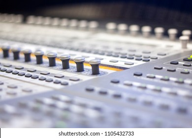 Recording studio mixing desk used to mix voiceover voice, singing and music.