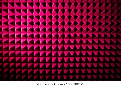 Recording studio sound dampening acoustic foam, background. Noise isolating protective and shock, texture. Background of sound absorbing sponge, wall soundproofing
