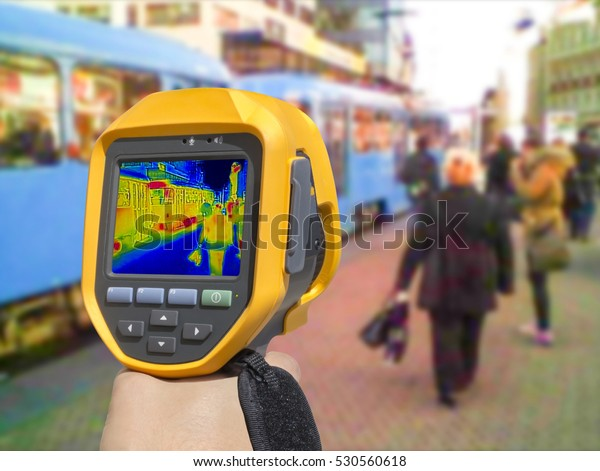 Recording with Thermal camera people at the city railway station