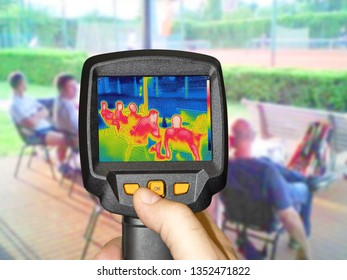 Recording whit Infrared thermovision camera when People sit at the table in the summer