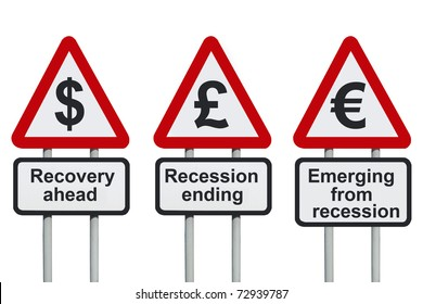 Recovery ahead, recession ending road sign