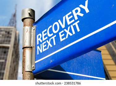 Recovery Next Exit blue road sign