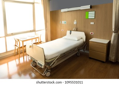 Recovery Room with bed and comfortable medical equipped in a hospital. Mattress with white cloth