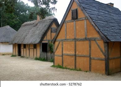 Recreated buildings at the Jamestown museum, Virginia.