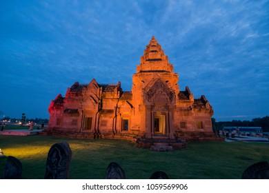 the recreated Khmer Temple of Buriram Castle in the city of Buriram in the province of Buri Ram in Isan in Northeast thailand.  Thailand, Buriram, November, 2017