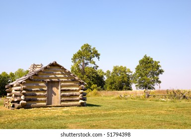 recreated log cabin at Valley Forge