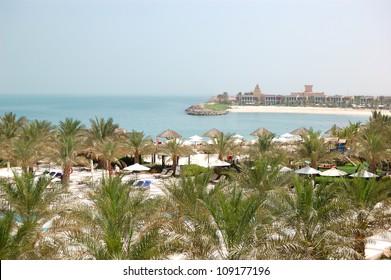 Recreation area of luxury hotel and beach with luxury villas, Ras Al Khaimah, UAE