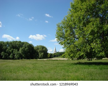Recreation in the Kolomenskoye Museum-Reserve, near the Ascension Church in summer, Moscow, Russia